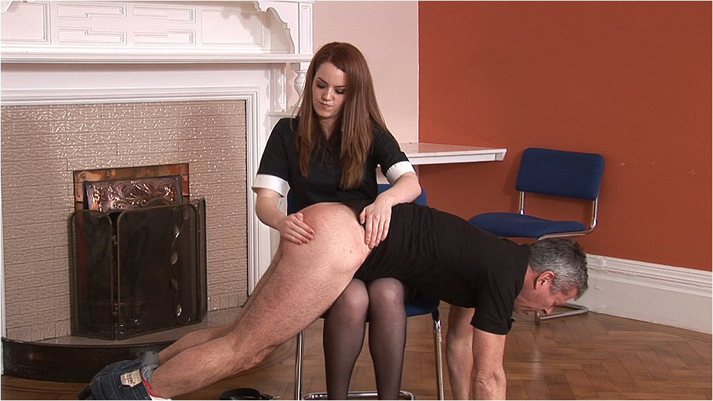 Two women spank man femdom video