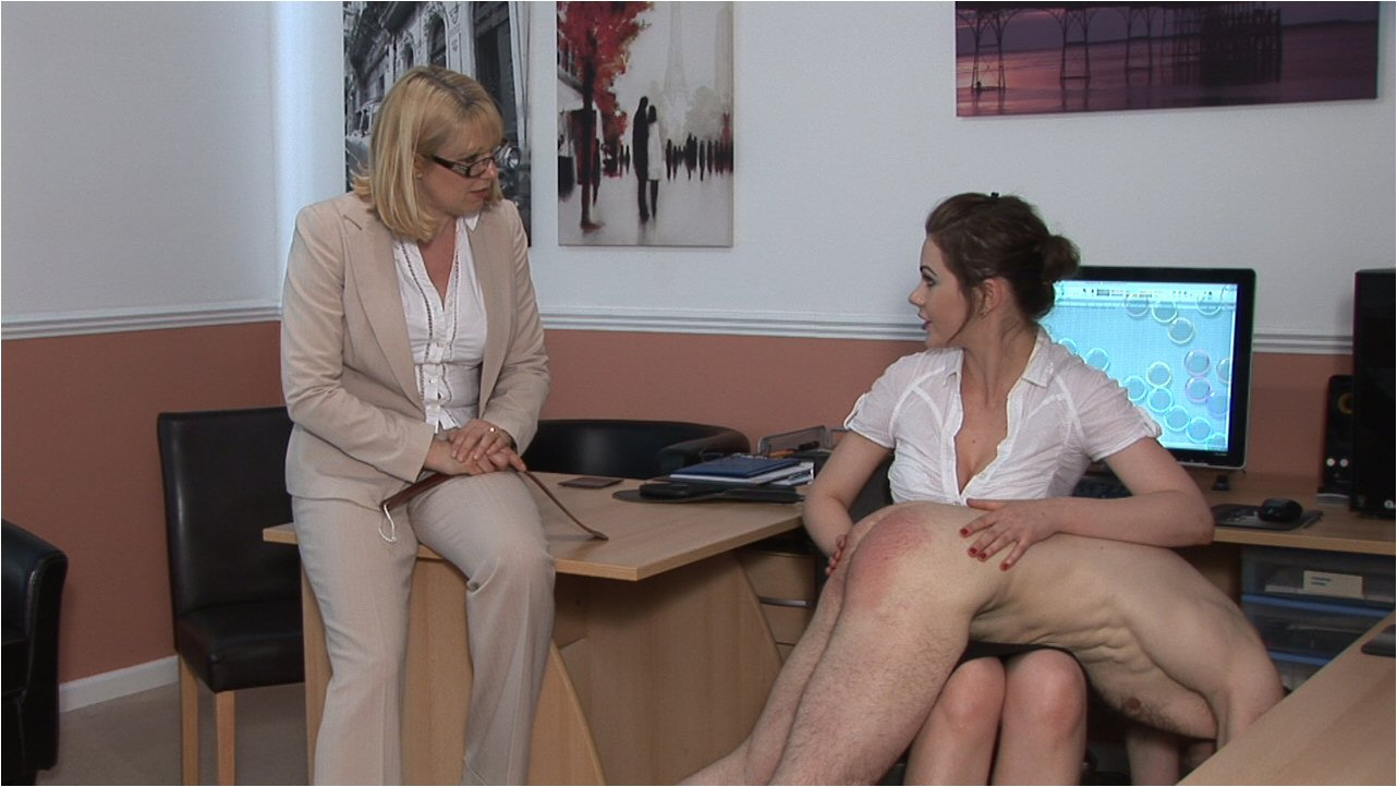 Two hot woman spank man