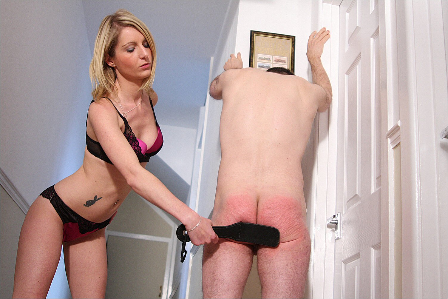 Whit girl Woman spank men thumbs not just